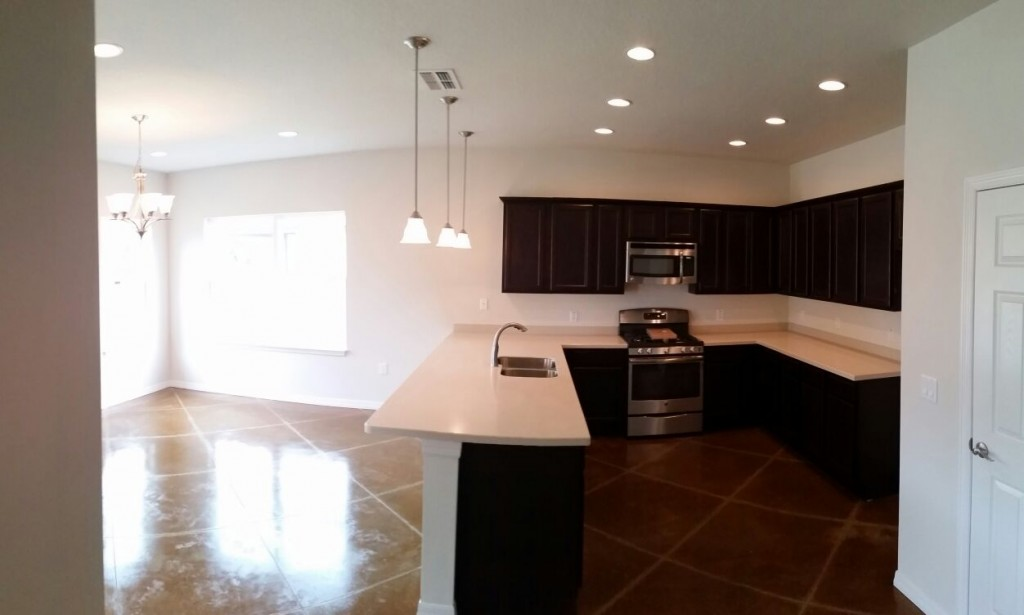 This is the kitchen of one of the homes built