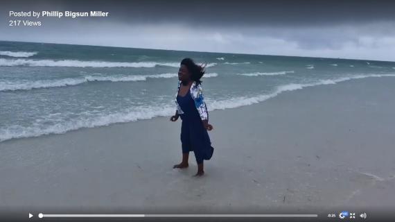 My customer enjoying herself on Siesta Key beach.