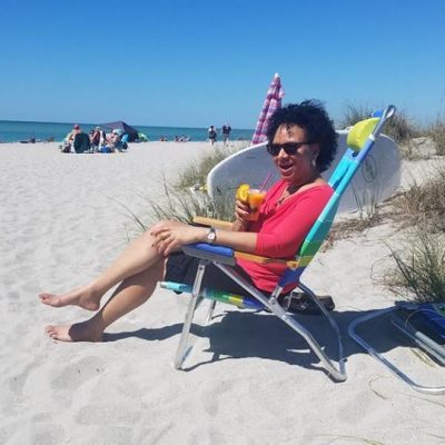 My customer on the beach today enjoying Siesta Key beach.