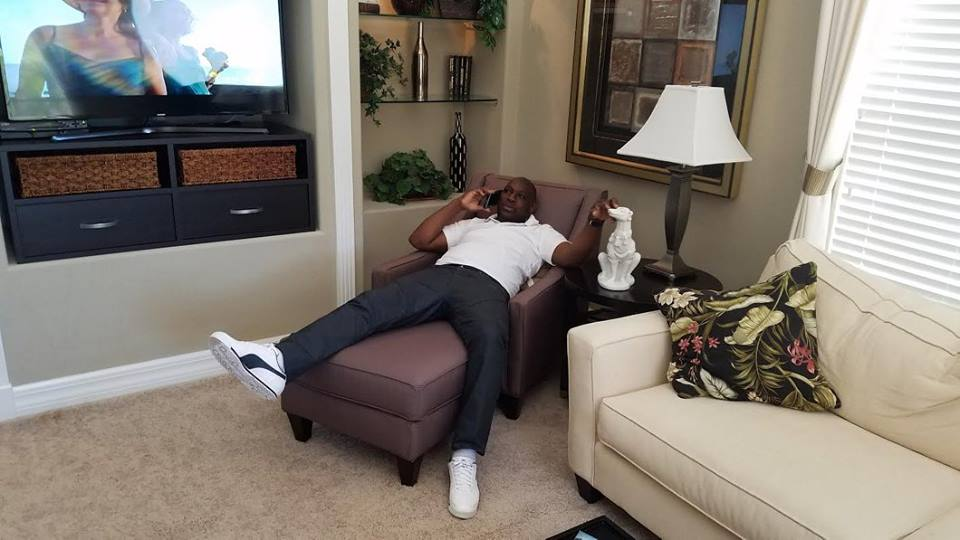Look how my customer sprawl out in Deltona model house . He is loving Sarasota and the lifestyle and is now the proud owner of a quarter acre land. Deltona will be building his very own home in the Future.. CONGRATS.