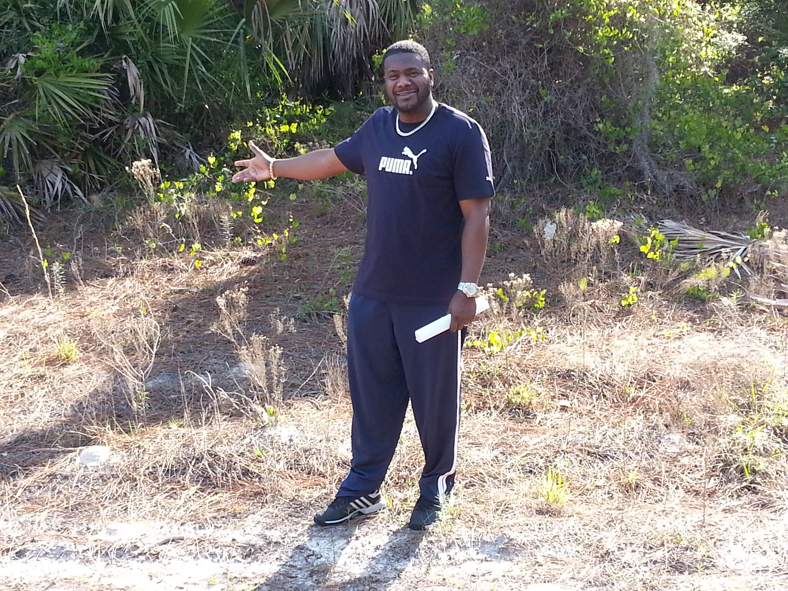 Another one of my proud customers and now owner of a quarter acre of land in Sarasota Florida . He cannot wait to move down there in a couple of years and for us to start building his very own home.