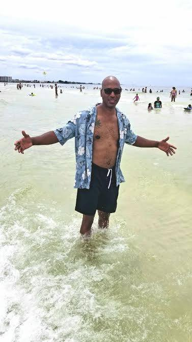 My customer today enjoying Siesta Key the water is not as clear as it usually is beacuse of Hurricane Harvey